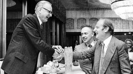 Watson (centre) and Crick shake hands with American geneticist Maclyn McCarty (Source: Wikipedia)