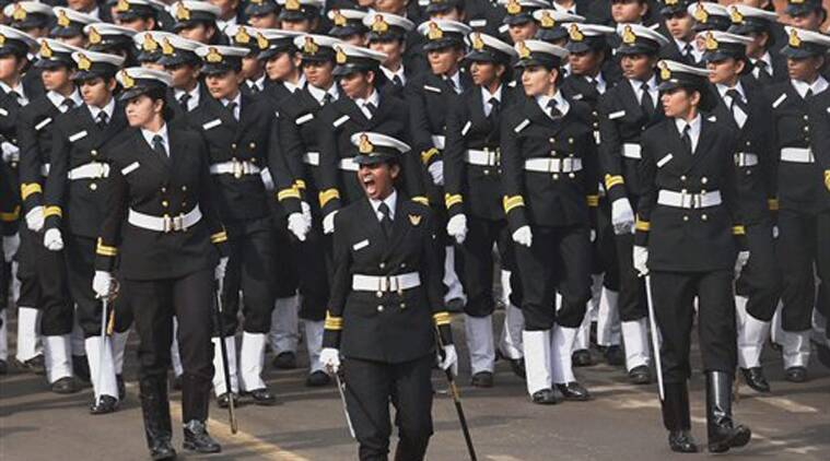 Indian Navy All Women Contingent Marches During India's Republic Day Parade