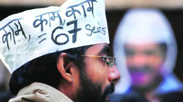 An AAP supporter outside the party's office in East Patel Nagar on Tuesday. ( Express photo by Oinam Anand)