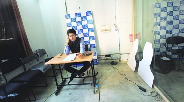 Raghav Chadha, who is part of the communications team, says every jingle, every message was filtered. (Express photo by Oinam Anand)