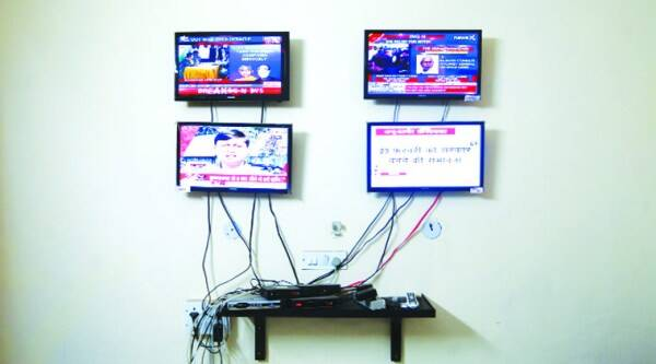 A room at the party's 173, North Avenue office was dedicated to monitoring daily news. (Oinam Anand)