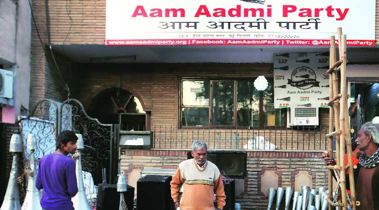 Preparations at the AAP office in East Patel Nagar on Monday. (Source: Express Photro by Oinam Anand)
