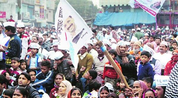 Part of Kejriwal's audience Tuesday at Trilokpuri, an East Delhi seat with a strong Purvanchali presence. (Express photo by Prem Nath Pandey0