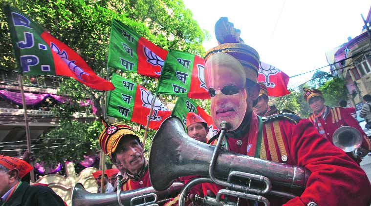 During Shah's rally on  Thursday. (Source: Express Photo by Amit Mehra)