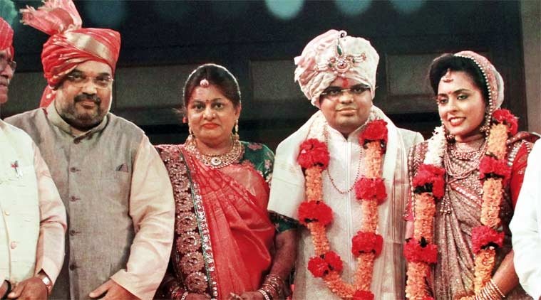 Amit Shah with his wife at their son Jay's wedding in Ahmedabad on Tuesday.