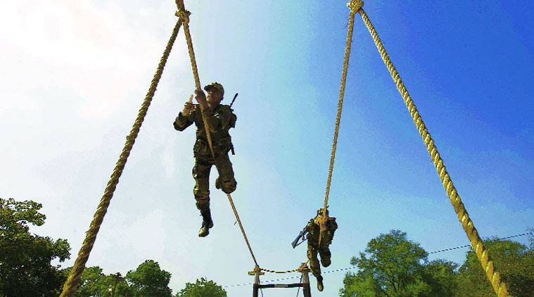The Gorkha Rifles jawans show their skills in Gandhinagar.(Source: Express Photo by Javed Raja)