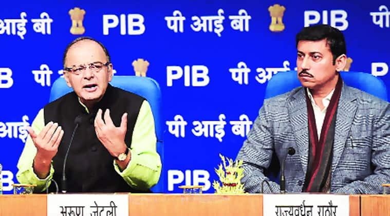 I&B Minister Arun Jaitley with MoS Rajyavardhan Singh Rathore in New Delhi on Monday. (PTI Photo)