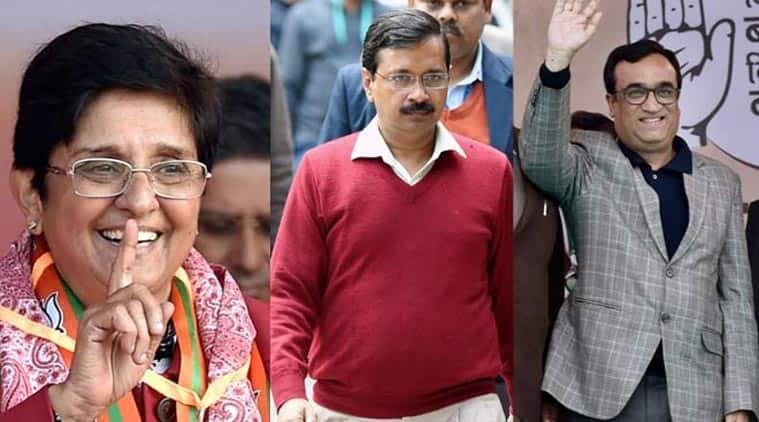 Kiran Bedi, Arvind Kejriwal, Ajay Maken, BJP, AAP, Congress