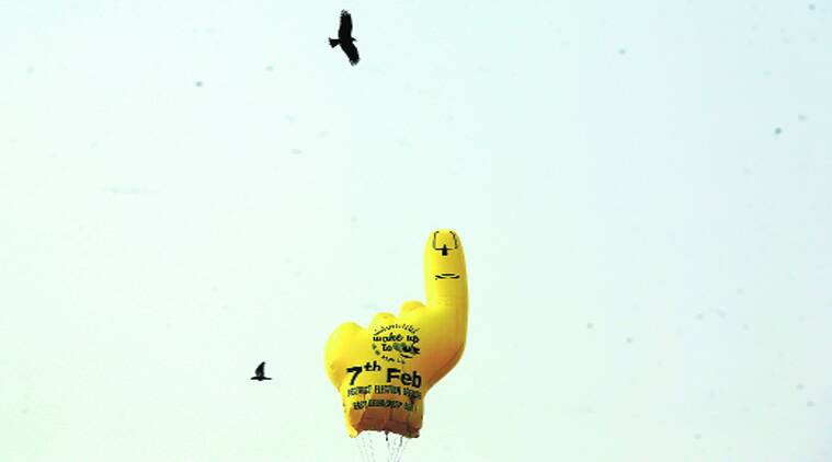 A 'wake up to vote' campaign balloon in  East Delhi. (Source: Express photo byPraveen Khanna)