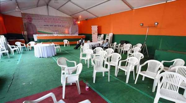 Empty chairs at the BJP office following the party's defeat in Delhi Assembly polls, in New Delhi on Tuesday. (PTI Photo)