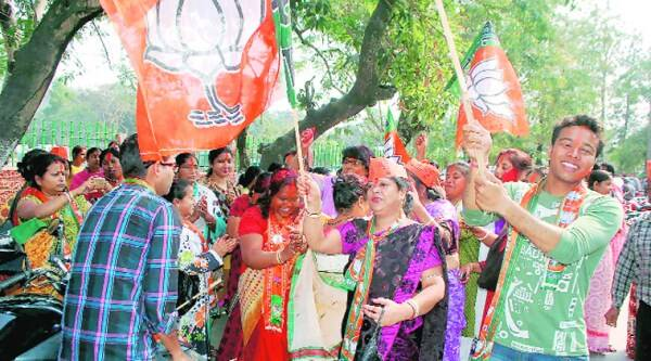 BJP supporters celebrate the municipality poll victory in Dibrugarh.(PTI)
