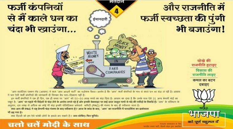 kejriwal, kejriwal news, BJP ad, BJP cartoon, black money