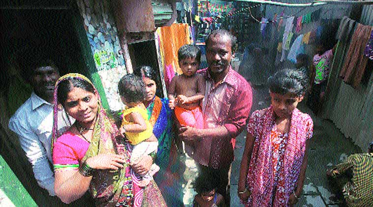 Santosh Thorat with his family in Mankhurd (Source: Express Photo by Kevin DSouza)