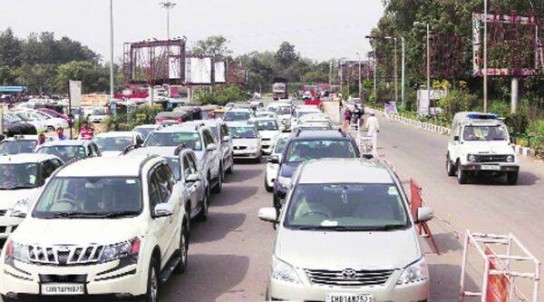 Jam outside the entrance of railway station due to separate lane (right side) for VIPs on Tuesday