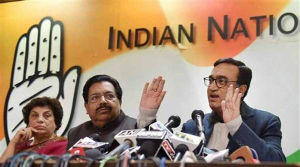 AICC General Secretary Ajay Maken along with party leaders PC Chacko, Kiran Walia and Haroon Yusuf addressing a press conference at party headquarters in New Delhi on Saturday. (PTI Photo)