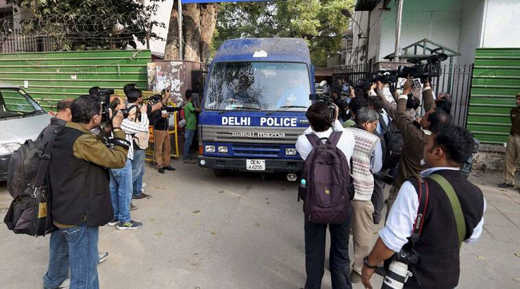 Accused in Petroleum Ministry document leak coming out of Patiala House Court in New Delhi on Friday. (Source: PTI Photo)