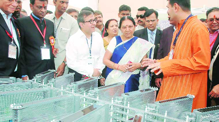 Chief Minister Anandiben Patel in Surat on Sunday. (Source: PTI