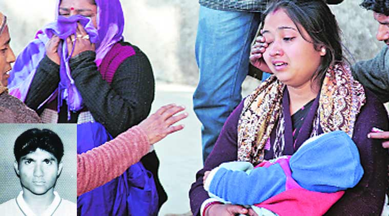 Wife of Amit Kumar (inset) at GMCH-32 in Chandigarh on Monday. (Source: Express Photo by Sumit Malhotra)