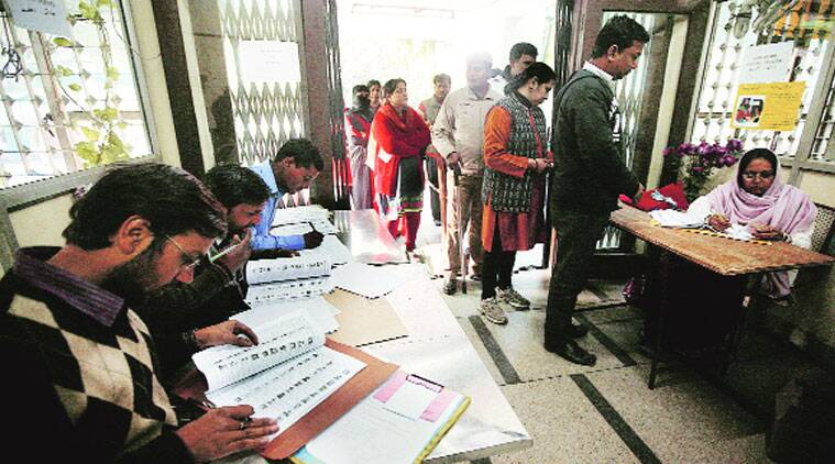 Polling in progress on North Campus. (Source: Express Photo by Praveen Khanna)