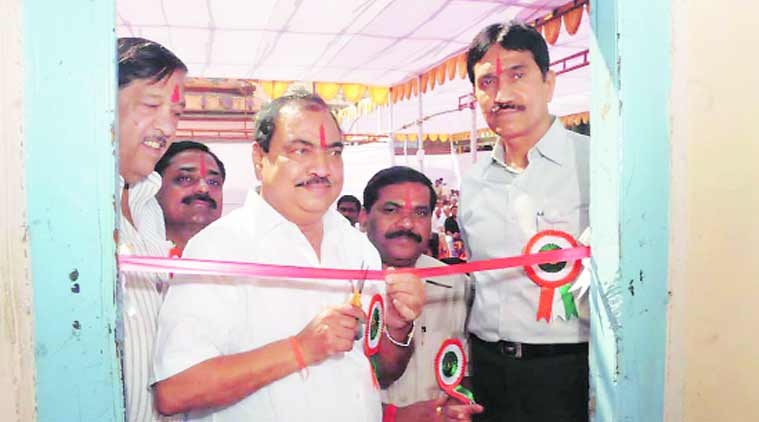 Khadse inaugurates the e-mutation system for Bhor taluka. (Source: Express Photo)
