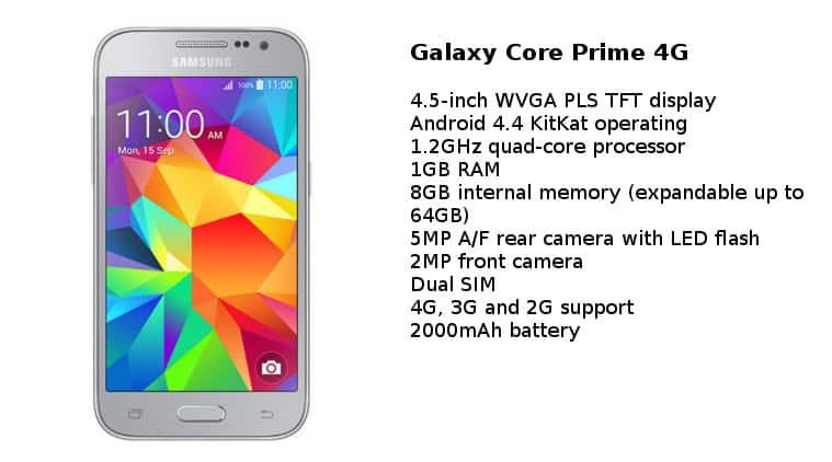 Samsung Galaxy Core Prime 4G price, Samsung Galaxy Core Prime 4G specs, Samsung Galaxy Core Prime 4G details, Samsung Galaxy Core Prime 4G launch