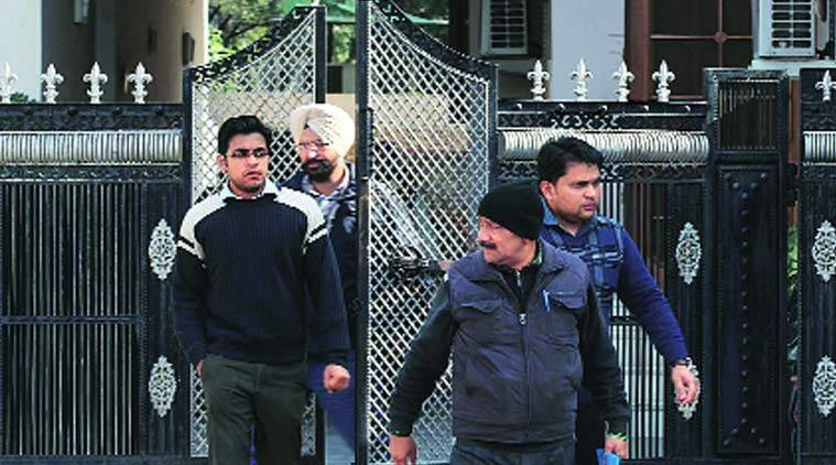 CBI officers after the raid at the house of Gurinder Garg at Shivalik Enclave in  NAC Manimajra, Chandigarh. (Source; Express Photo by Jaipal Singh)