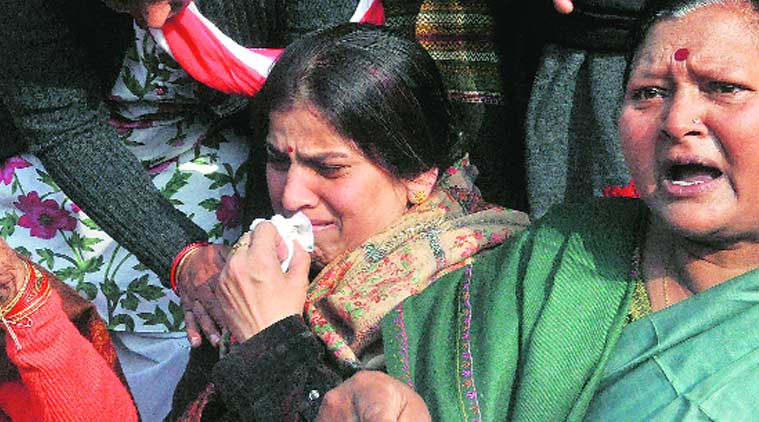 Gauri's mother at the dharna in Lucknow. (Source: Express Photo by Vishal Srivastav)