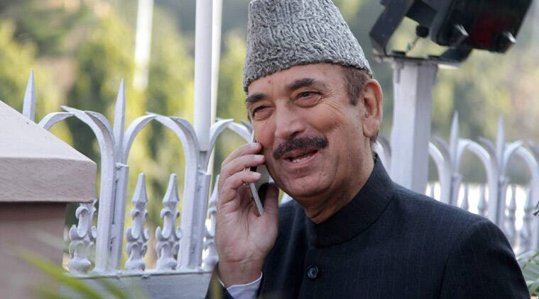 Congress candidate Ghulam Nabi Azad during the Rajya Sabha elections at the Assembly Secretariat in Jammu on Saturday. (Source: PTI)