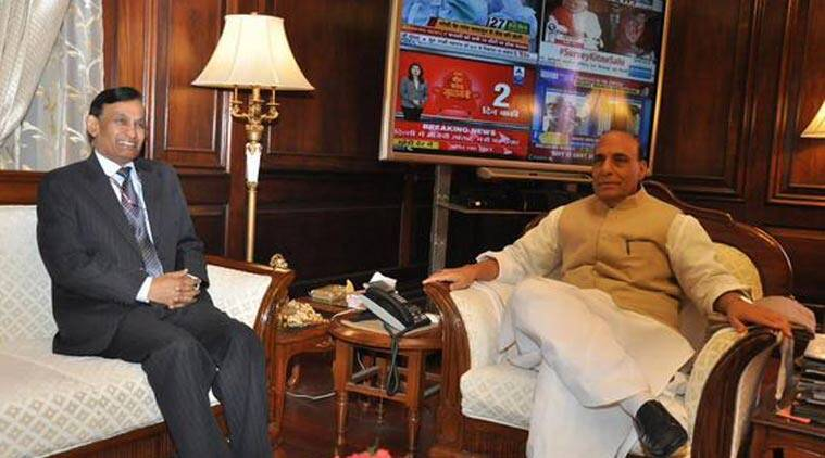 Newly appointed Home Secretary Shri LC Goyal with the Home Minister Rajnath Singh after taking charge today. (Source: HMO India)