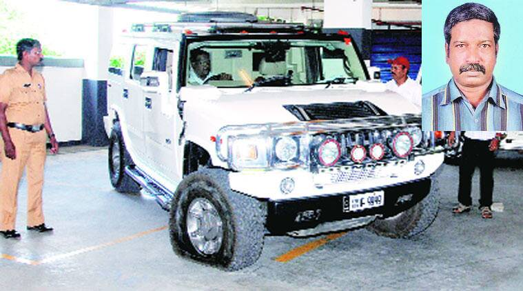 The Hummer that Mohammed Nisham used to attack the guard K Chandrabose (inset).