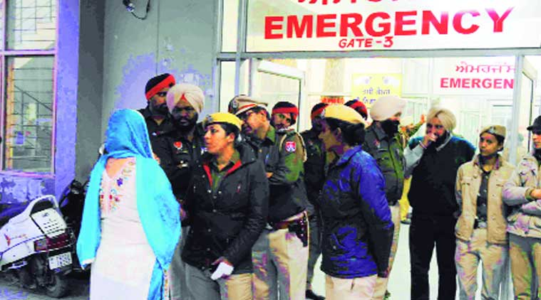 Outside Civil Hospital on Thursday. (Source: Express Photo by Gurmeet Singh)