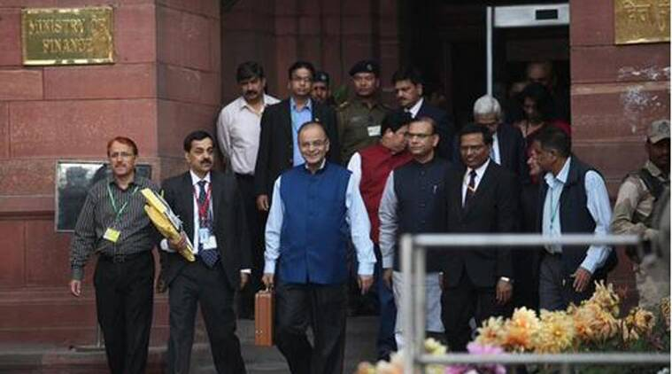 Finance Minister Arun Jaitley leaves from his office to present the Union Budget (Source: Express photo)