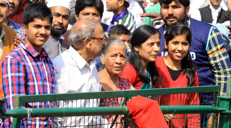 Family Members of Arvind Kejriwal at Ramlila Maidan during oath-taking ceremony in New Delhi on Saturday. (Source:  express photo by Prem Nath Pandey)
