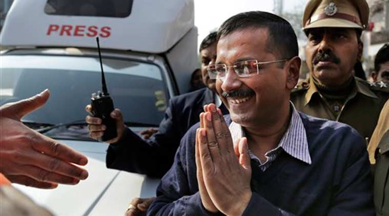 Aam Aadmi Party, or Common Man's Party, leader Arvind Kejriwal gestures as he comes out of a polling station after casting his vote in New Delhi, India, Saturday, Feb. 7, 2015. (Source: AP)
