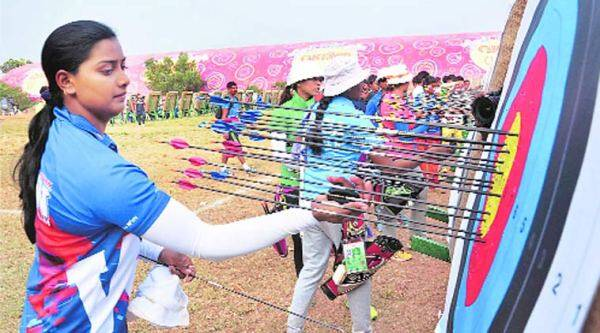 Deepika Kumari at a practice session at Jawaharlal Nehru Stadium in Kochi. (PTI)