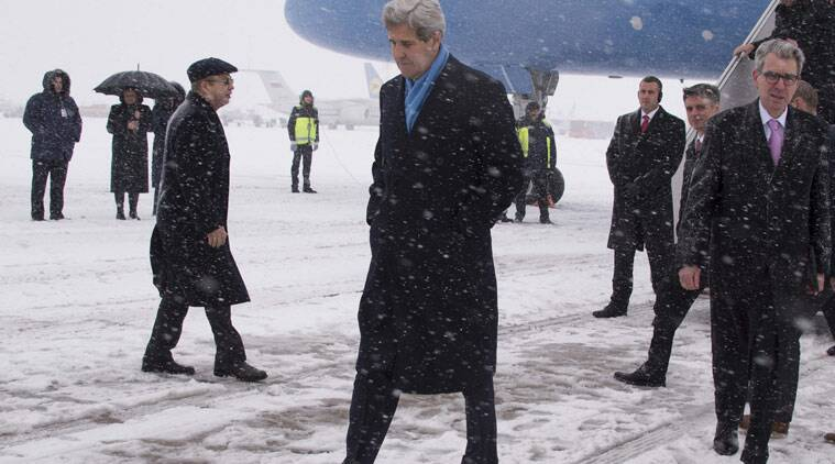 US Secretary of State John Kerry walks off the plane at Kiev Boryspil International Airport in Kiev on Thursday. The Ukrainian government is anxious to use Thursday's visit by U.S. Secretary of State John Kerry to Kiev to reiterate its plea for lethal aid. (Source: AP)