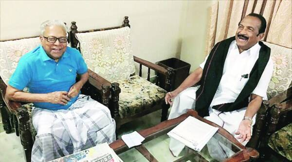 Vaiko with V S Achuthanandan in Ernakulam on Saturday.(PTI)