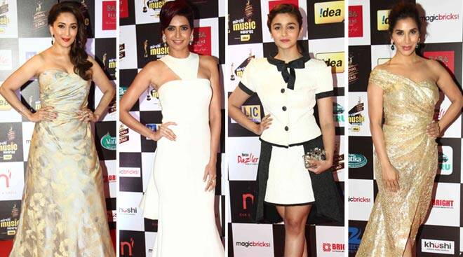 Alia, Madhuri, Sophie, Karishma Tanna go glam for Music awards
