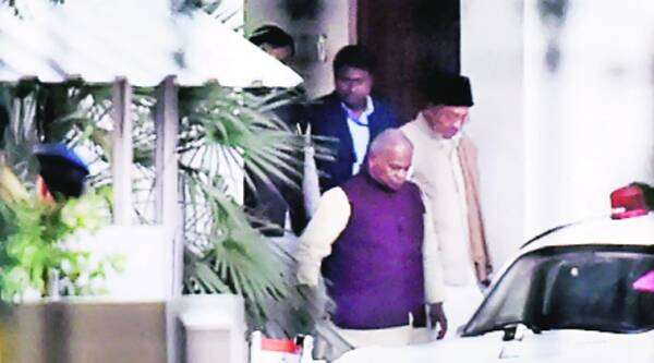 Bihar CM Jitan Ram Manjhi leaves after meeting PM Narendra Modi at 7RCR in New Delhi on Sunday.(PTI)