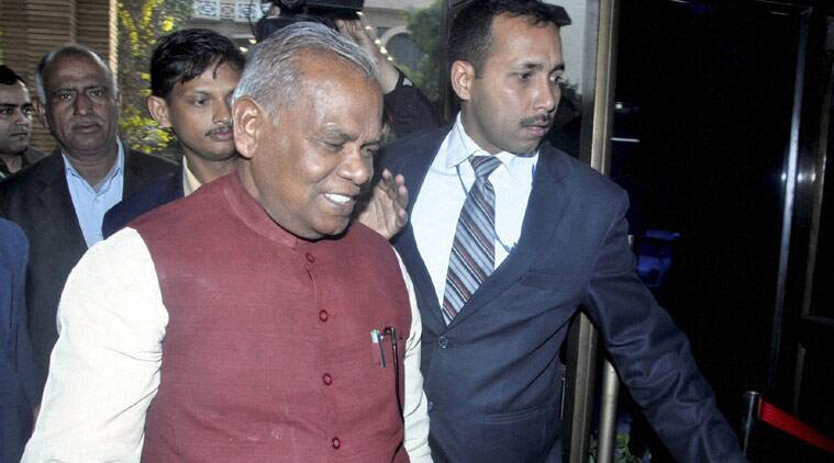 Bihar CM Jitan Ram Manjhi arrives at Bihar Niwas in New Delhi on Sunday. (Source: PTI)