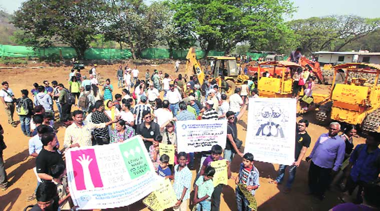 Residents protesting at Aarey picnic spot on Sunday. (Source: Express Photo by Dilip Kagda)