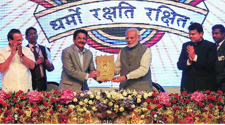 (From right) Chief Minister Devendra Fadnavis, Prime Minister Narendra Modi, Maharashtra Governor C Vidyasagar Rao and Union Minister for Law and Justice Sadanand Godwa at the closing ceremony of the sesquicentennial celebrations of the Advocates Association of Western India on Saturday. (Source: Express Photo by Prashant Nadkar)