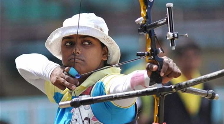 Jharkhand's Deepika Kumari competes in the semifinal of recurve archery event at the National Games at Jawaharlal Nehru Stadium in Kochi on Wednesday. (Source: PTI)