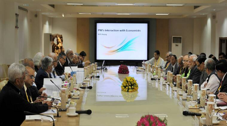 Prime Minister Narendra Modi chairing the first meeting of NITI Aayog in New Delhi. (Source: PTI photo)