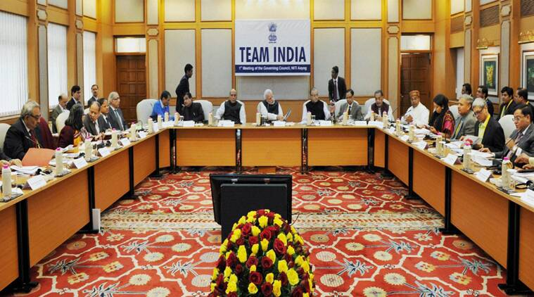 Prime Minister Narendra Modi chairing the first meeting of Governing Council of NITI Aayog in New Delhi on Sunday. (Source: PTI photo)