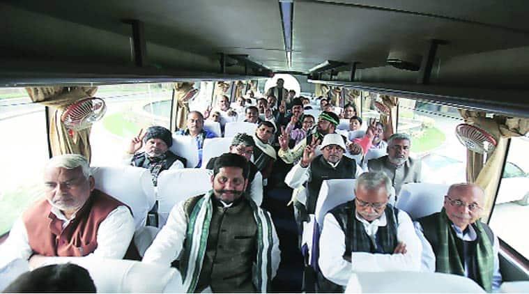 JD(U) legislators in Greater Noida, on way to meet  President Pranab Mukherjee, on Wednesday. (Express Photo by: Anil Sharma)