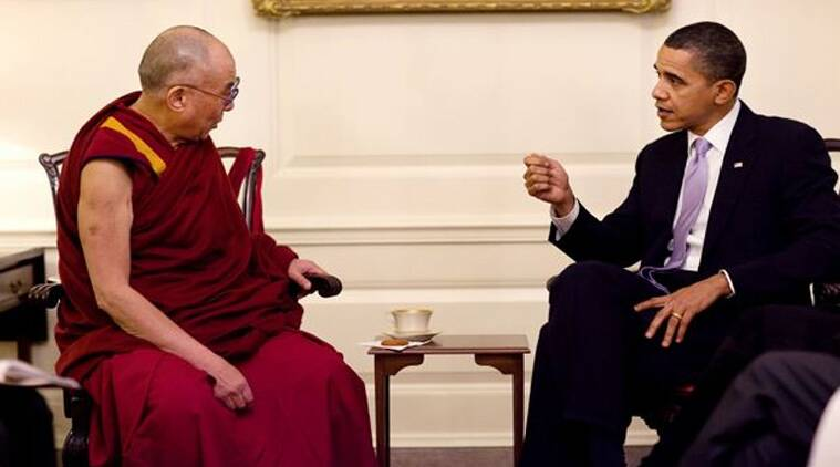 """The president called the Buddhist spiritual leader a """"powerful example of what it means to practice compassion.'' (Source: AP)"""