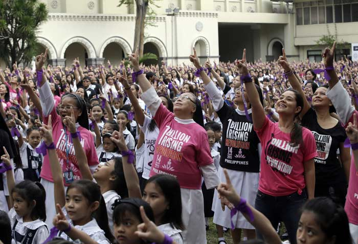 One Billion Rising, Philippines, One Billion Rising Philippines, violence against women, violence against children, women safety, children safety, domestic violence, sexual assault, trafficking, cyber pornography, kidnapping, women, children, Nigerian schoolgirls kidnapped, Islamic militants, women news, world news, indian express