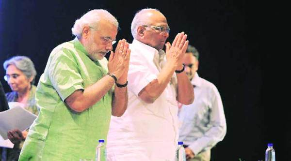 Narendra Modi and Sharad Pawar in 2012.(Express archive)
