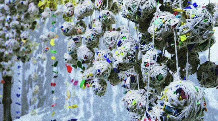 Mumbai-based artist Prajakta Palav Aher's installation shows plastic garlands.
